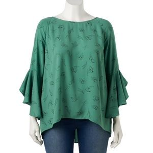 Lauren Conrad Ruffle Sleeve Split-Back Top